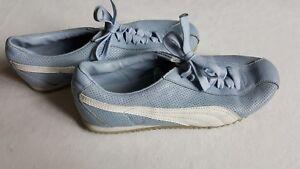 Damen Puma Freizeit Sport Schuhe Sneaker hell blau Vintage Retro Mode Größe 38