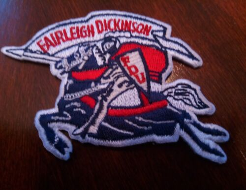 """FAIRLEIGH DICKINSON UNIVERSITY VINTAGE EMBROIDERED IRON ON PATCH 3/"""" X 2/"""""""