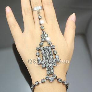 black cross crystal bracelet slave chain link hand harness