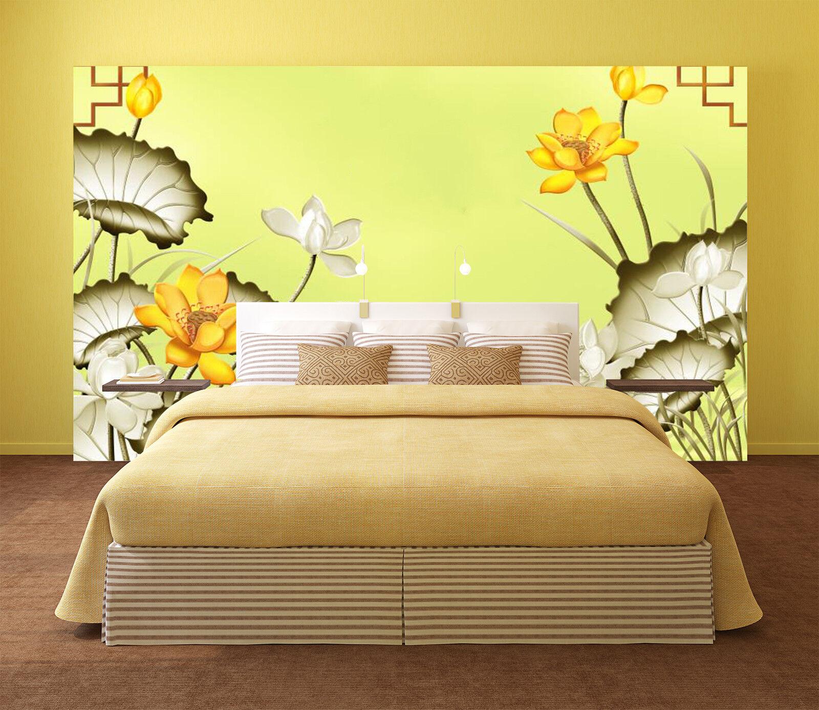3D golden Lotus 5 Wallpaper Murals Wall Print Wallpaper Mural AJ WALL AU Lemon