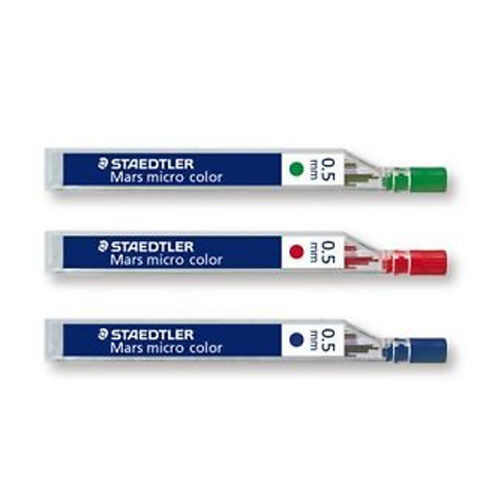 12 STAEDTLER MARS MICRO 254 COLOURED MECHANICAL PENCIL LEADS 0.5mm