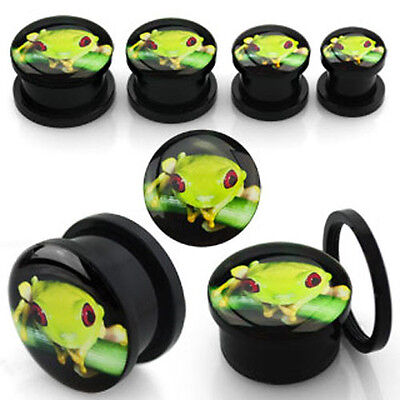 Pair Black Acrylic Screw Fit Logo Green Tree Frog Nature Ear Plugs Gauge 2G-3/4""