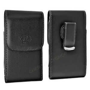 Black-Vertical-Leather-Belt-Clip-Case-Pouch-Cover-for-Samsung-INTENSITY-SCH-U450