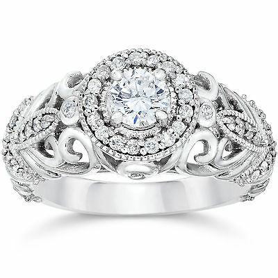 3/4ct Vintage Diamond Engagement Ring 14K White Gold