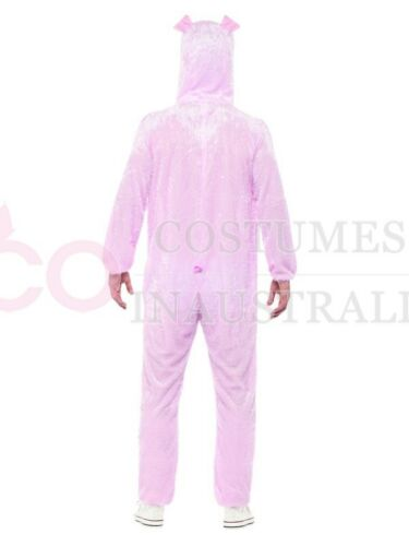 Mens Pink Pig Costume Adult Jumpsuit Animal Zoo Party Funny Hogs Fancy Dress