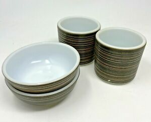 2 Vintage Pyrex Ovenware Terra Brown Stripe 13 Oz Cups and 2 Cereal Bowls
