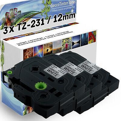 """3x TZe231 12mm 0.47/"""" 8m schwarz auf weiß Schriftband für Brother P-touch PT-D200"""