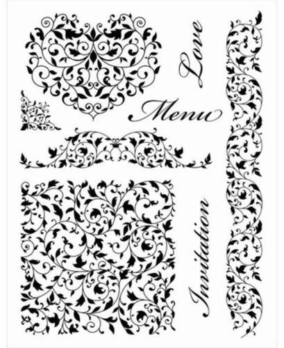 Artemio Clear Stamps Love Menu Wedding Engagement Flourishes Formal Invitation