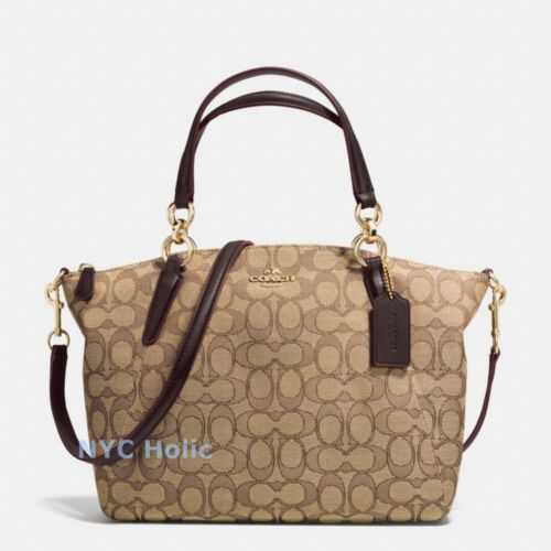 New Coach F36625 Small Kelsey Satchel In Signature Khaki Brown NWT