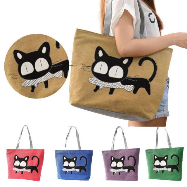 Fashion Womens Shoulder Bag Cute Cartoon Cat Eat Fish Canvas Bags Casual Handbag
