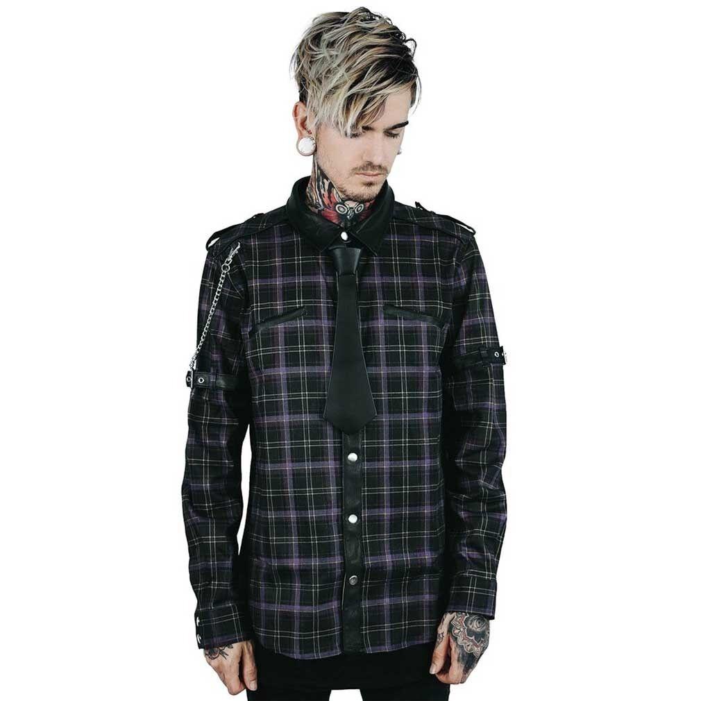 Kill Star gothic goth occulta punk Camicia-LUX shirt nutrizionista in pelle catena Tartan