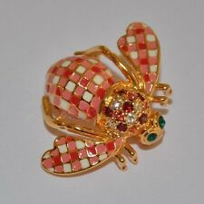"JOAN RIVERS ORIGINAL RED ""GINGHAM"" BEE PIN BROOCH- RARE - MINT CONDITION"