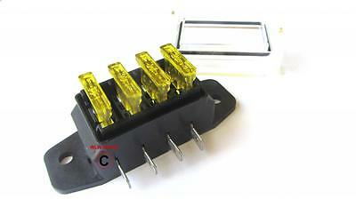 12 volt Standard Blade Fuse Holder Box Car 4 fuses 20 amp Yellow waterproof lid