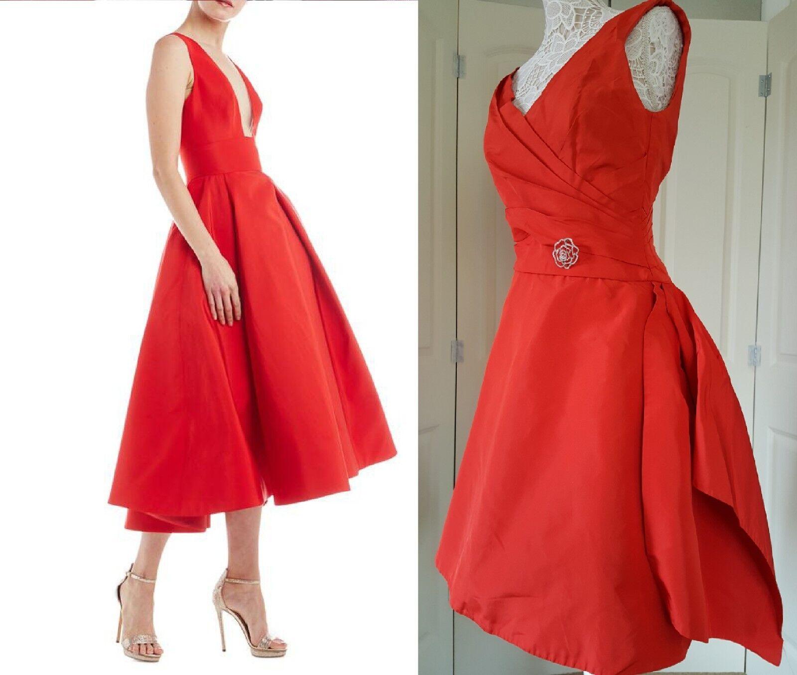 2595 MONIQUE LHUILLIER CORAL RED GORGEOUS TAFFETA  SILK DRESS GOWN RUNWAY 12