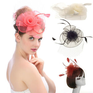 Large Feather Hair Clip Hat Fascinator Weddings Ladies Day Race Royal Ascot