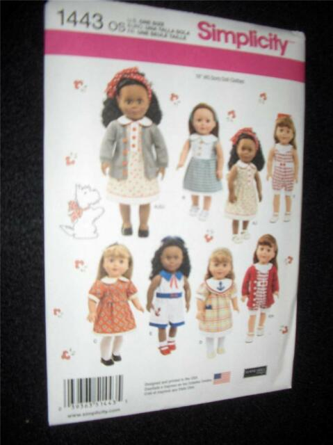 "18"" DOLL NEW Simplicity 1443 Heigl Pattern Summer Clothes Fits American Girl"