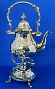 Vintage-Engraved-Brass-Samovar-Kettle-Tea-Pot-with-Stand-amp-Unused-spirit-burner