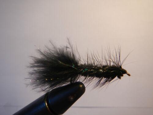 Size #4-14 per 1 dozen Hand Tied Woolly Bugger w// flash Black Trout Flies