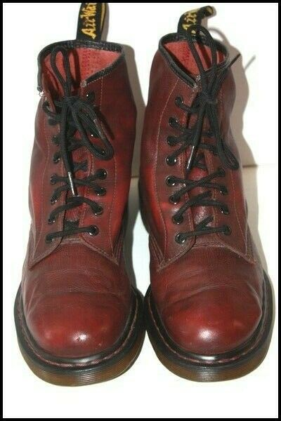 Dr Martens Boots Lace Vintage Leather Bordeaux T 9 UK/10 US/43 Europe Be