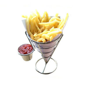 Steel-French-Fry-Basket-Stand-With-Sauce-Holders-Sets-Fries-Bowl-Snack-Cones