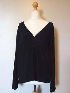 Details about La Maison du Jersey L/S Button Through V Neck Top Cardigan  Size 9 Uk NEW Black