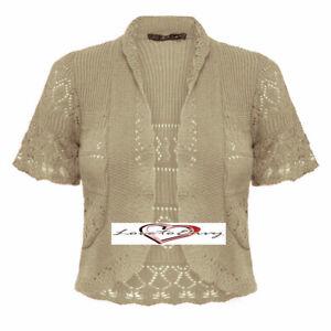 Ladies-Knitted-Short-Sleeve-Cardigan-Shrug-Crochet-Style-Cardigan-Size-8-14