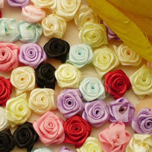 Mixed Satin Ribbon Roses 15mm Appliques Scrapbooking Sewing Craft JMSR