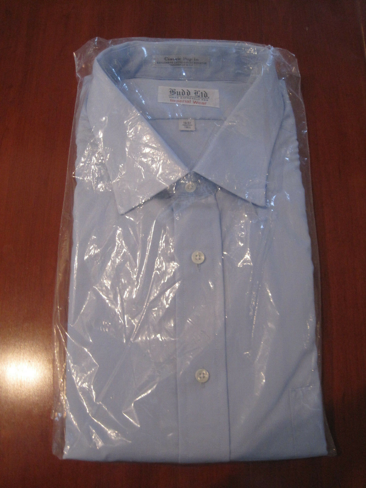 Budd LTD Imperial Wear Mens Shirt Button Up Lt bluee 19 37 Tall Long Sleeve NWT