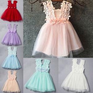 Flower-Girl-Kids-Toddler-Baby-Princess-Party-Pageant-Wedding-Tulle-Tutu-Dress