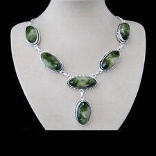 Titanium Druse grün Kette modern Design Halskette Collier Silber plattiert neu