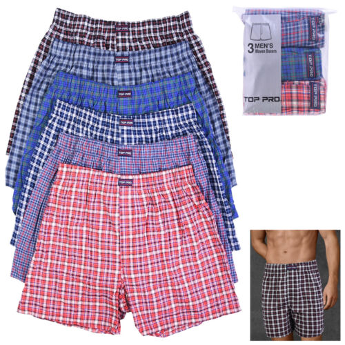 3 Mens Plaid Boxer Shorts Pack Underwear Cotton Trunk Woven Briefs Size S M L XL