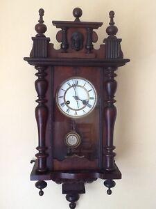 Ancien Allemand Pfeilkreuz Horloge Murale Avec R = Un Pendule C.1900