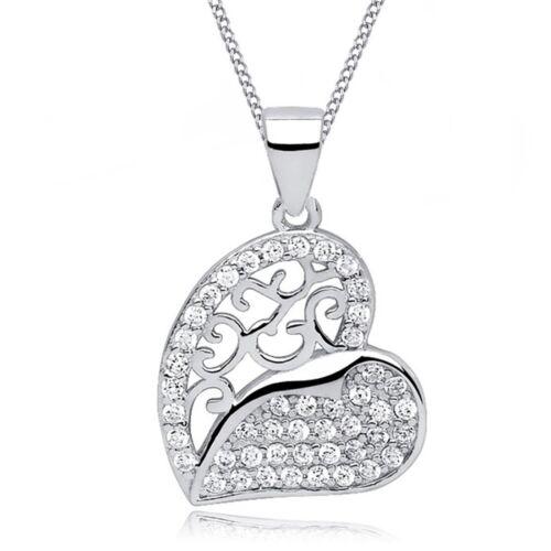 Collar con dije de zirconia cúbico corazón colgante 925 plata esterlina verdadera chica señoras CZ