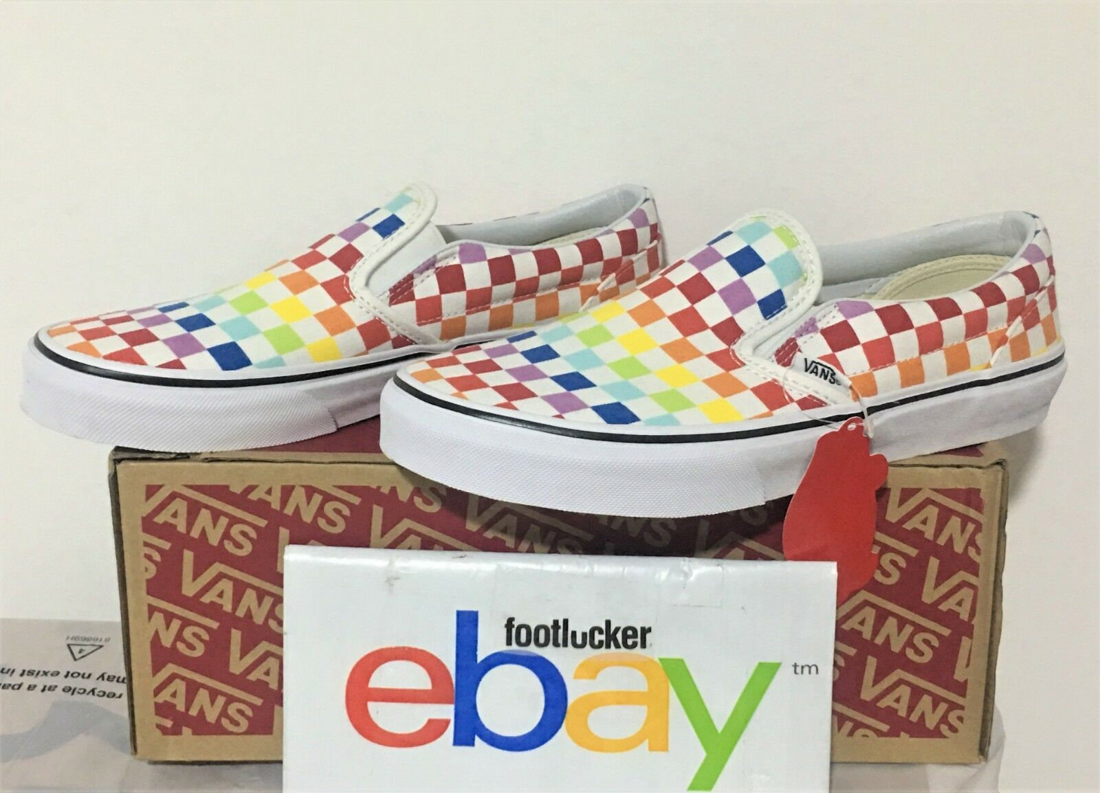 Vans Slip On Slip-on Rainbow Checkerboard White Multi color All Size 3Y-13 LIMIT