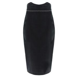 Alexander-McQueen-Black-Velvet-Pearl-Edged-High-Waist-Pencil-Skirt-IT42-UK10