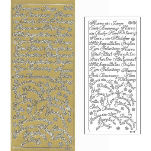 Konturensticker verschiedene Anlässe gold Ziersticker Reliefsticker Peel Off/'s