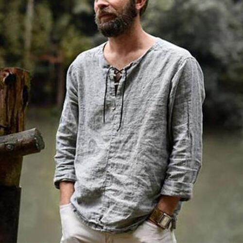Basic Herren Sommer Baumwolle Leinen Hemden Baggy T-Shirt Shirt Tops Top Sale