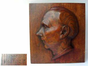 Great-Art-Deco-Wood-Relief-Image-Portrait-Wilhelm-Kruse-Year-68-1oz394