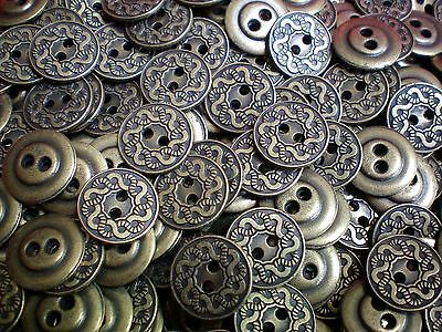 15mm 20mm Aged Silver Metal 2 Hole Industrial Geometric Buttons MB168-MB169