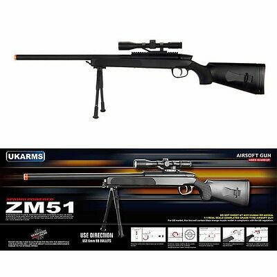 CYMA ZM51 Spring Powered Bolt Action Airsoft Sniper Rifle w/ Scope & BiPod
