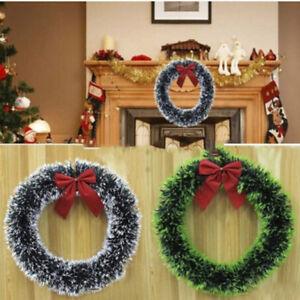 CORONA-di-Natale-Grande-Natale-Porta-Muro-Ornamento-Ghirlanda-Decorazione-Bowknot-Decor