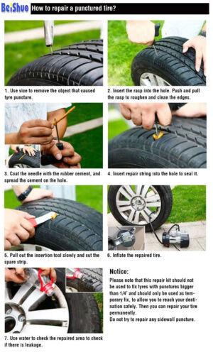 8 TEILIG SCHLAUCHLOS REIFEN EINSTICH REPARATURSATZ MOTORRAD INKL.WERKZEUGE