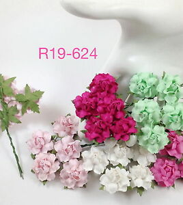 50 pink green white paper flowers scrap booking wedding roses crafts image is loading 50 pink green white paper flowers scrap booking mightylinksfo