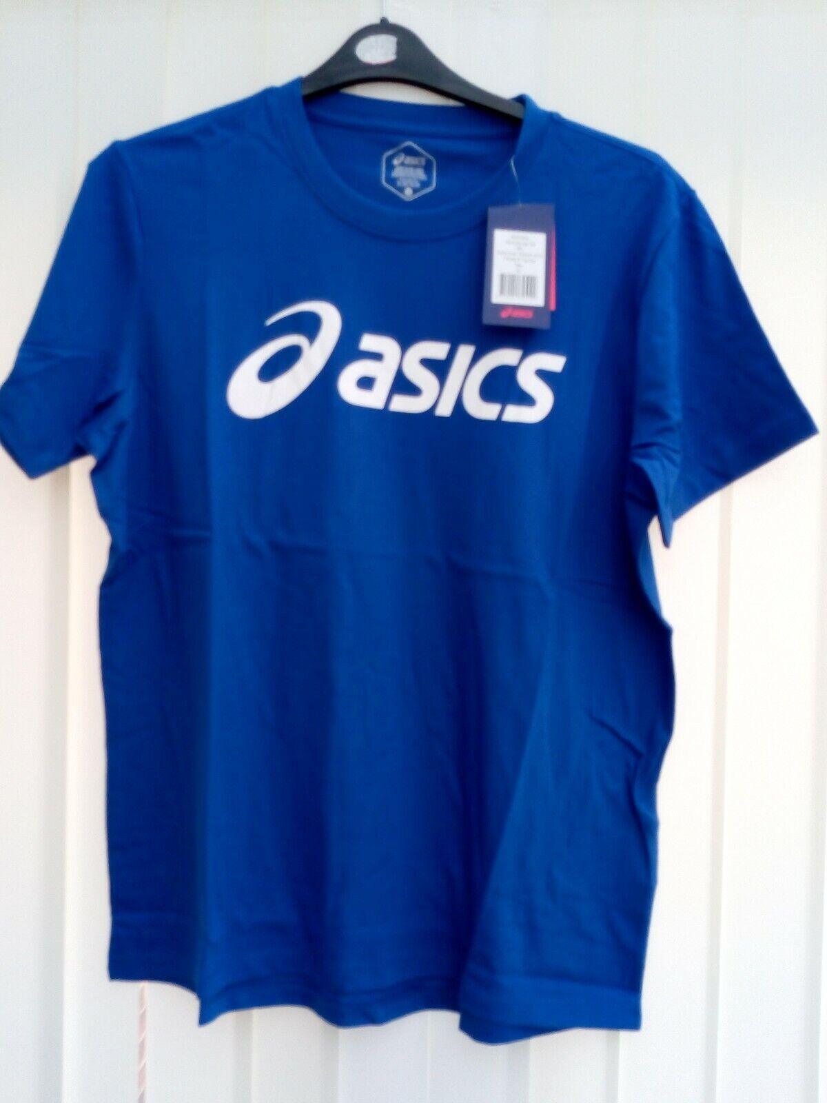 BNWT Asics Mens Big Logo Tee Asics Blue/Brilliant White Size M