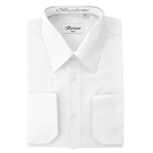 Berlioni Italy Solid Mens Dress Shirt Italian French Convertible Cuff White