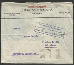 PERU-to-ARGENTINA-1938-Cover-Insufficient-rate-for-Airmail-ICA-Cancel