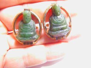 Signed Swank Dark Green Carved Jade Budda Figural Cuff Links