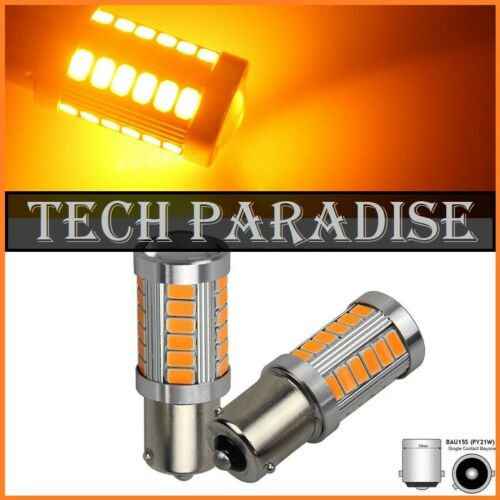 1x Ampoule 15 LED CanBus anti erreur Jaune Yellow Orange PY21W BAU15S RY10W RY5W