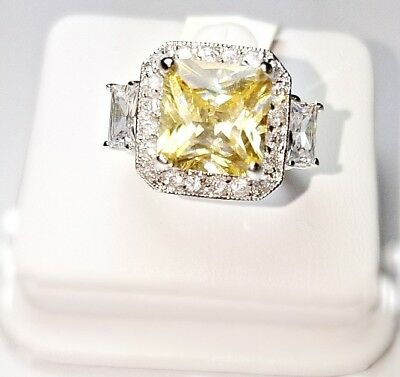 6CTW Square Yellow Canary CZ /& Clear Pave+Emerald Cubic Halo Engagement Ring