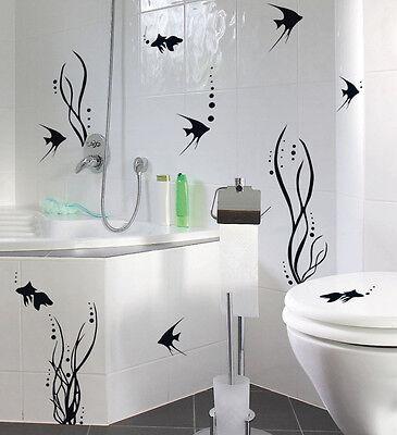 Bad Deko Set FISCHEWELT Fische Fliesen Wandtattoo Aufkleber Sticker WC NEU  | eBay